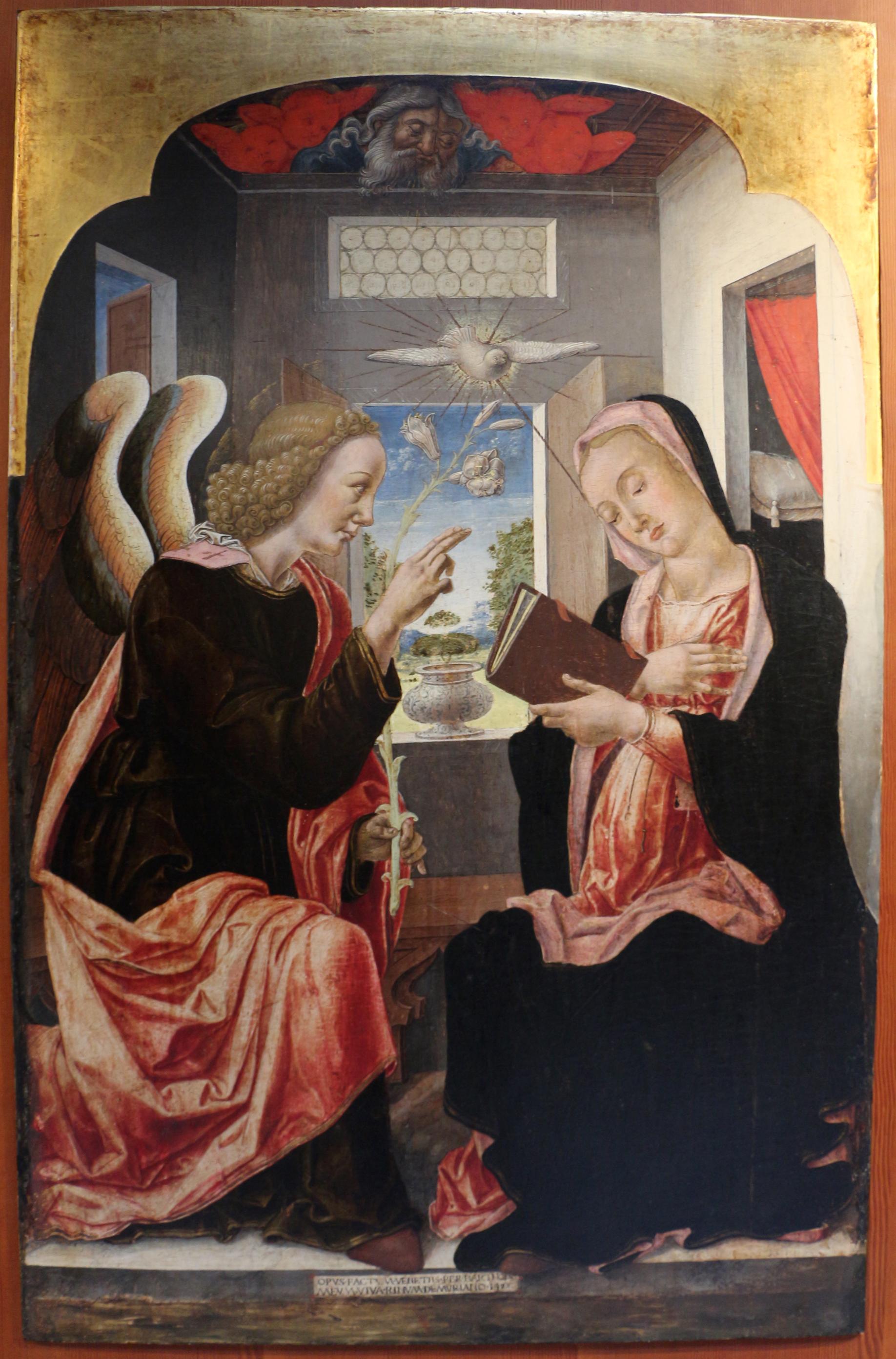 File:Bartolomeo vivarini, annunciazione , 1472 (modugno, maria santissima  annunziata) 01