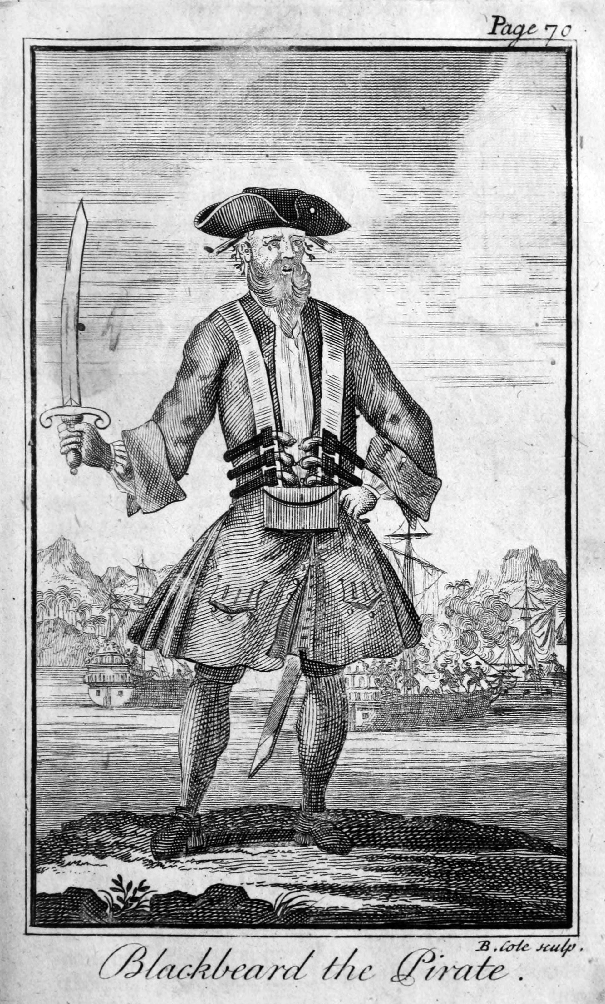 Blackbeard the Pirate from A General History of the Pyrates, 1724