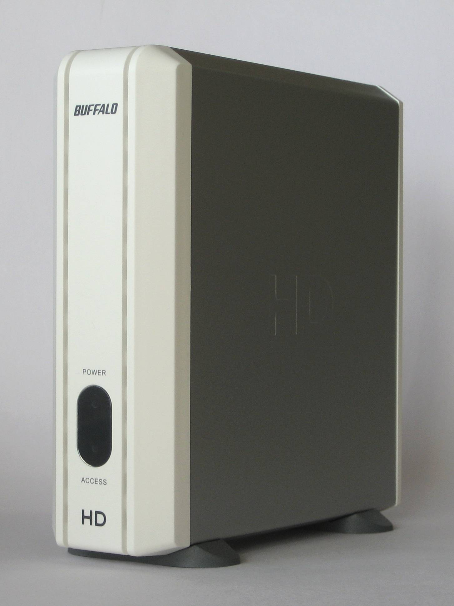 Factory-assembled Buffalo external hard drive in a disk enclosure