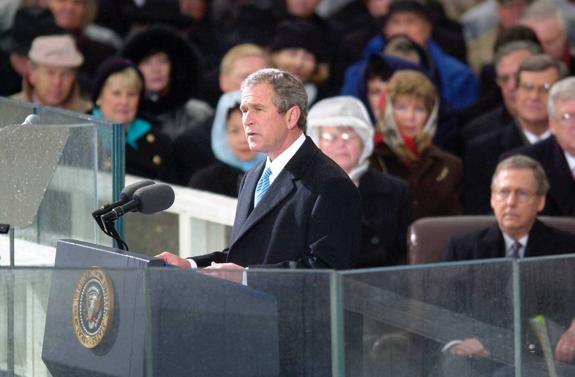 president bush's second inaugural address President bush' second inaugural address essay sample on a warmer-than-average day in early 2005, president george w bush gave his second inaugural address in front of the us capitol and witnessed by thousands in person and perhaps millions around the world.