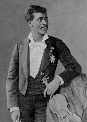 "Claudio Jose Domingo Brindis de Salas y Garrido, called the ""Black ""Paganini"" posing with his famous Stradivarius Claudio Jose Brindis Salas Garrido 1880.jpg"