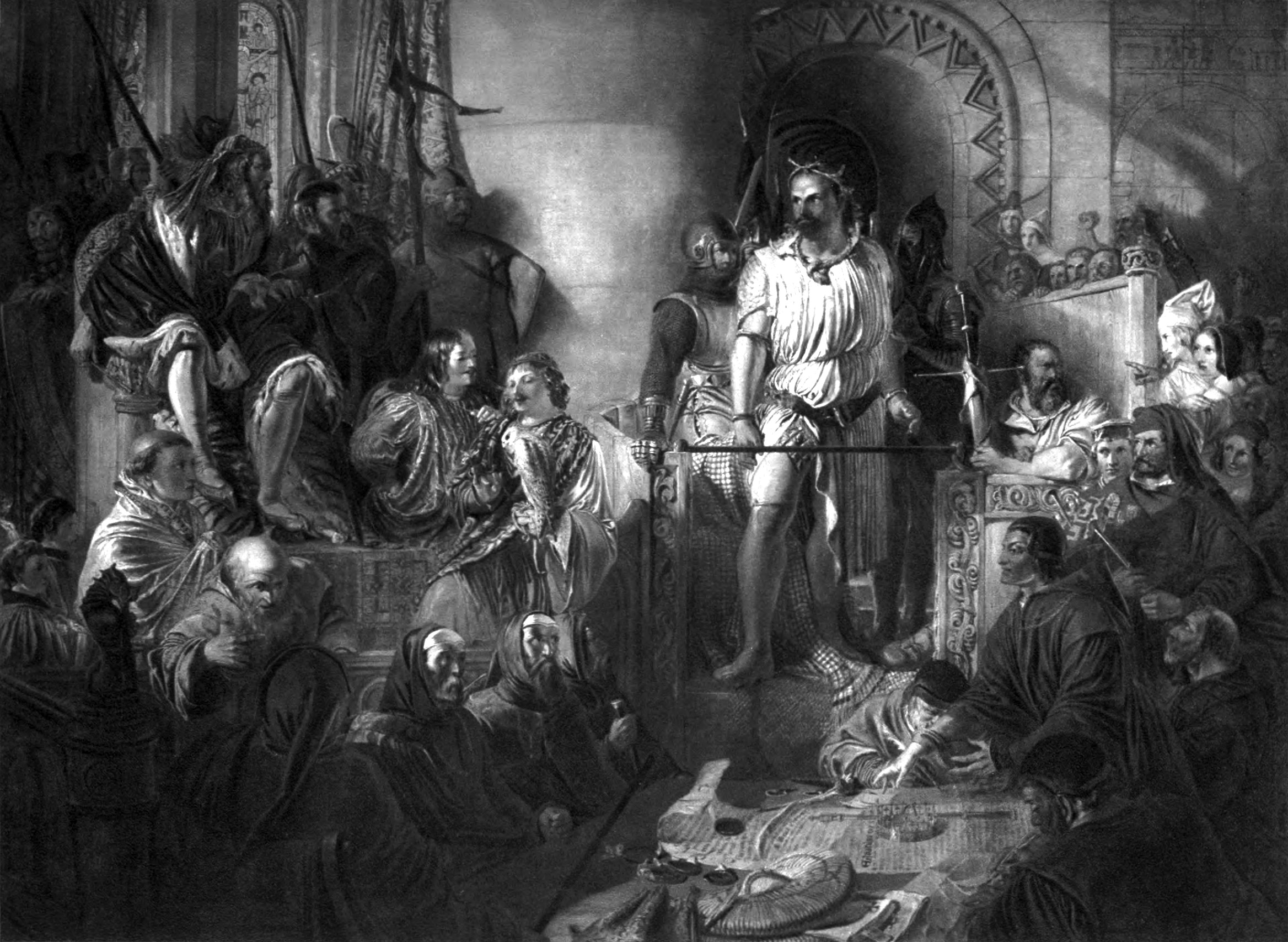 File Daniel Maclise R A The Trial Of Sir William Wallace Jpg Wikimedia Commons