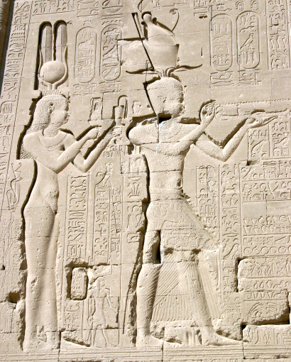 Reliefs of Cleopatra and her son by Julius Caesar, Caesarion, at the Temple of Dendera Denderah3 Cleopatra Cesarion.jpg