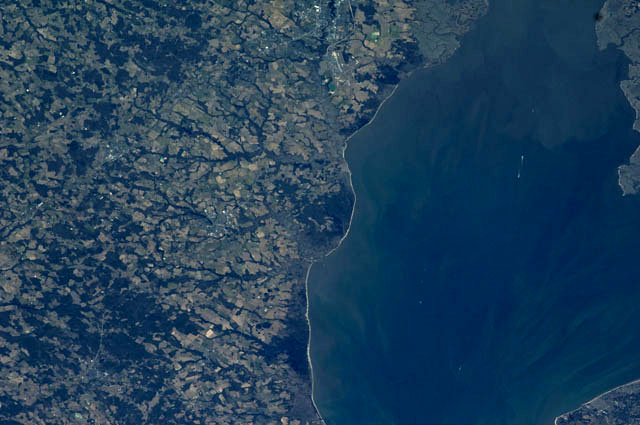 Satellite photo of Dover taken from the International Space Station