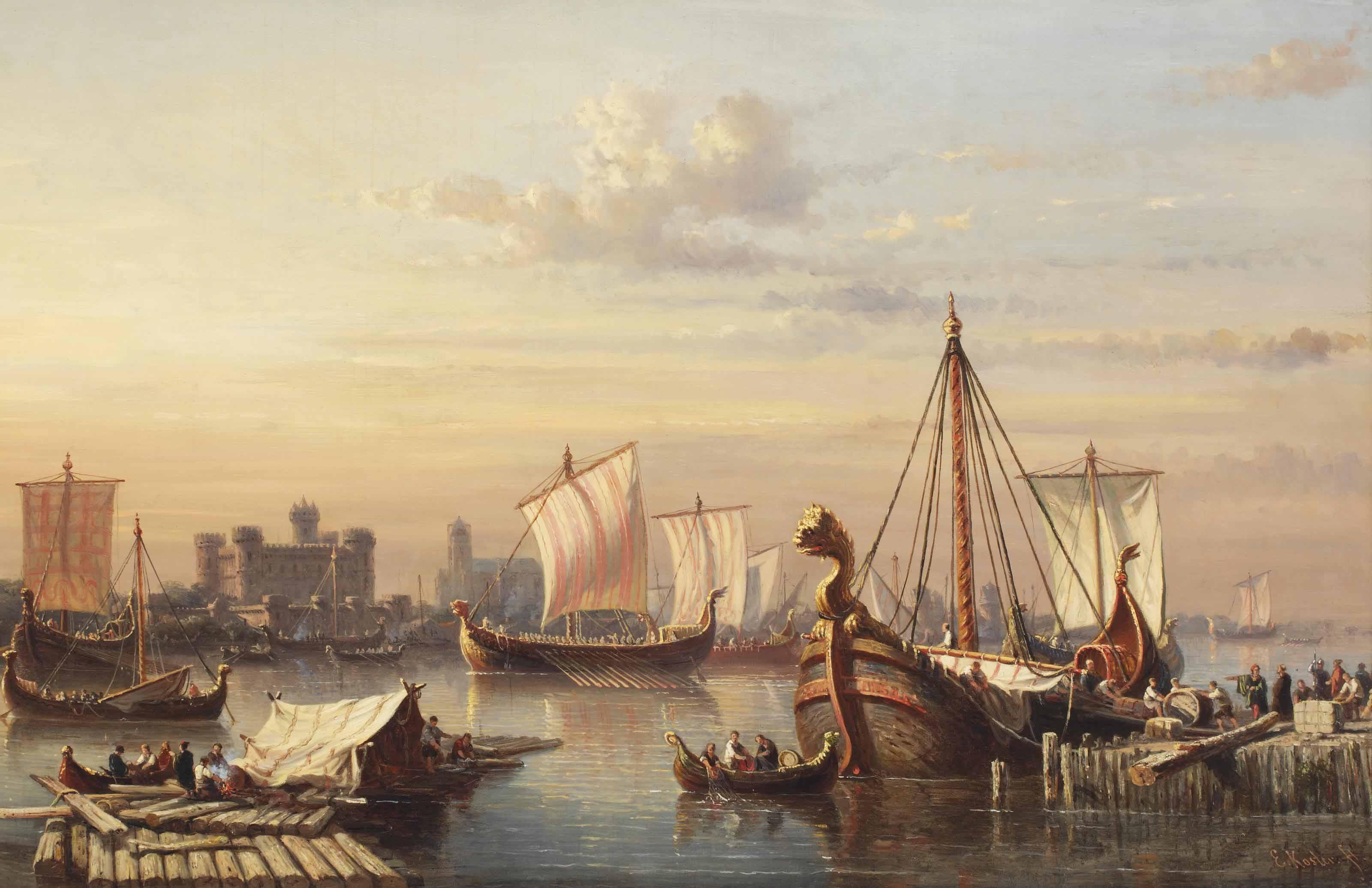 File:Everhardus Koster - Viking ships on the river Thames