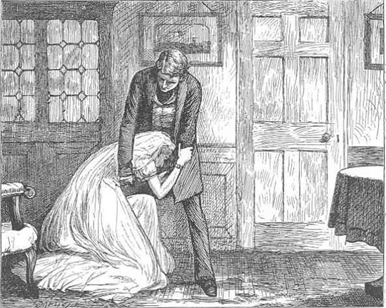 Source: http://upload.wikimedia.org/wikipedia/commons/4/49/Great_Expectations%2C_Miss_Havisham_begging_forgivance%2C_by_F.A._Fraser_c.1877.jpeg