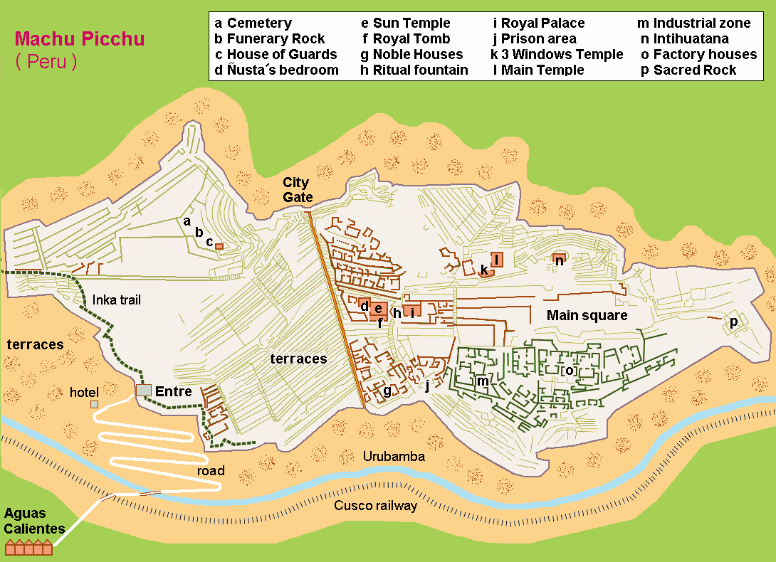 English: Map (rough) Machu Picchu, own work co...