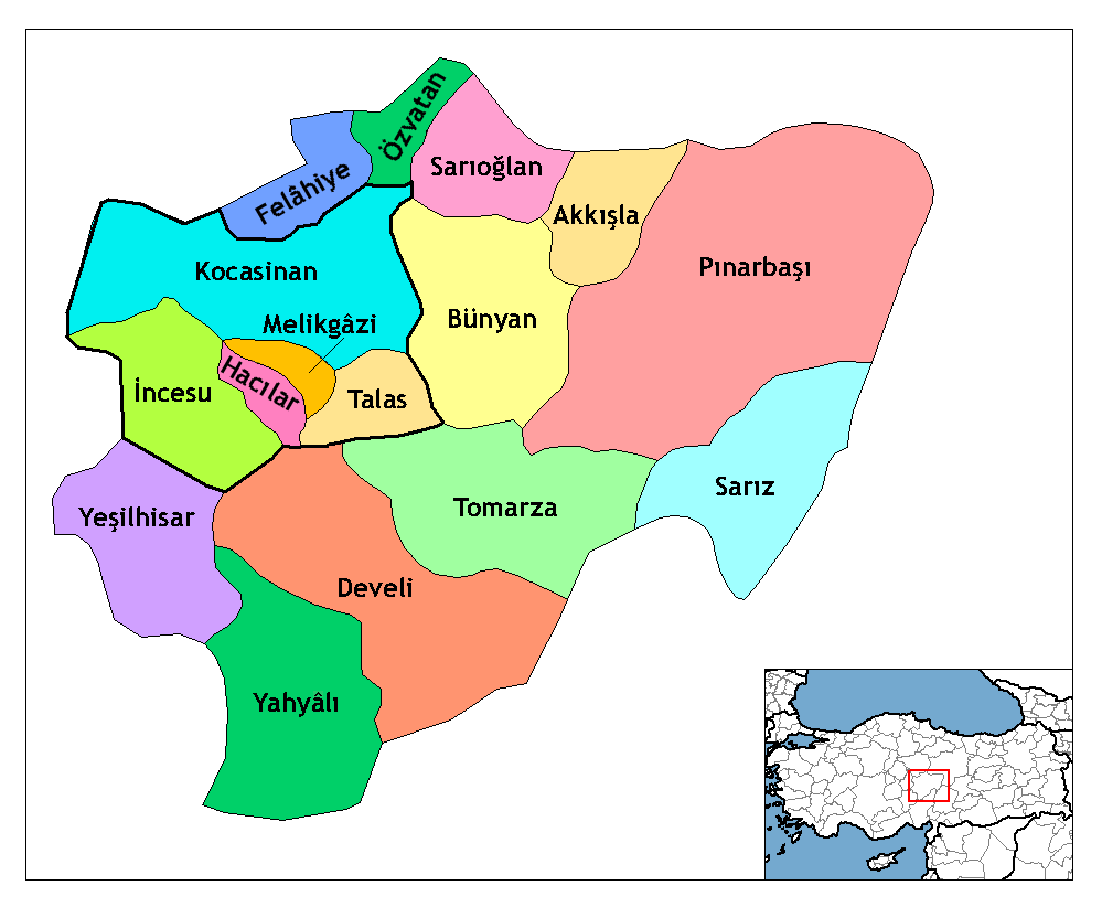 Kayseri Turkey  City new picture : Districts of Kayseri Province •