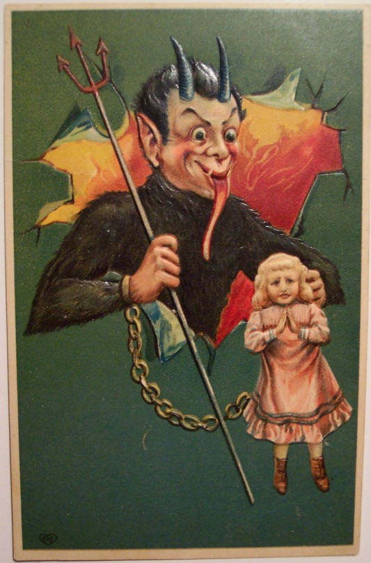 A 1900s postcard featuring Krampus