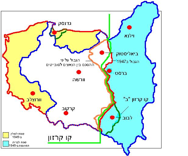 גבולות פולין והשינויים הטריטוריאליים בין 1919 ל-1945. קו קרזון הוא הקו הירוק העובר במרכז המפה.