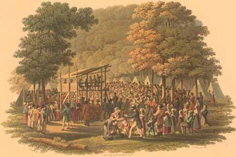 Methodist preachers are known for promulgating the doctrines of the new birth and entire sanctification to the public at events such as tent revivals and camp meetings, which they believe is the reason that God raised them up into existence. Methodist camp meeting (1819 engraving).jpg