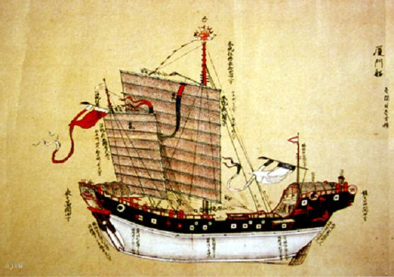 A Chinese junk ship during the Ming dynasty