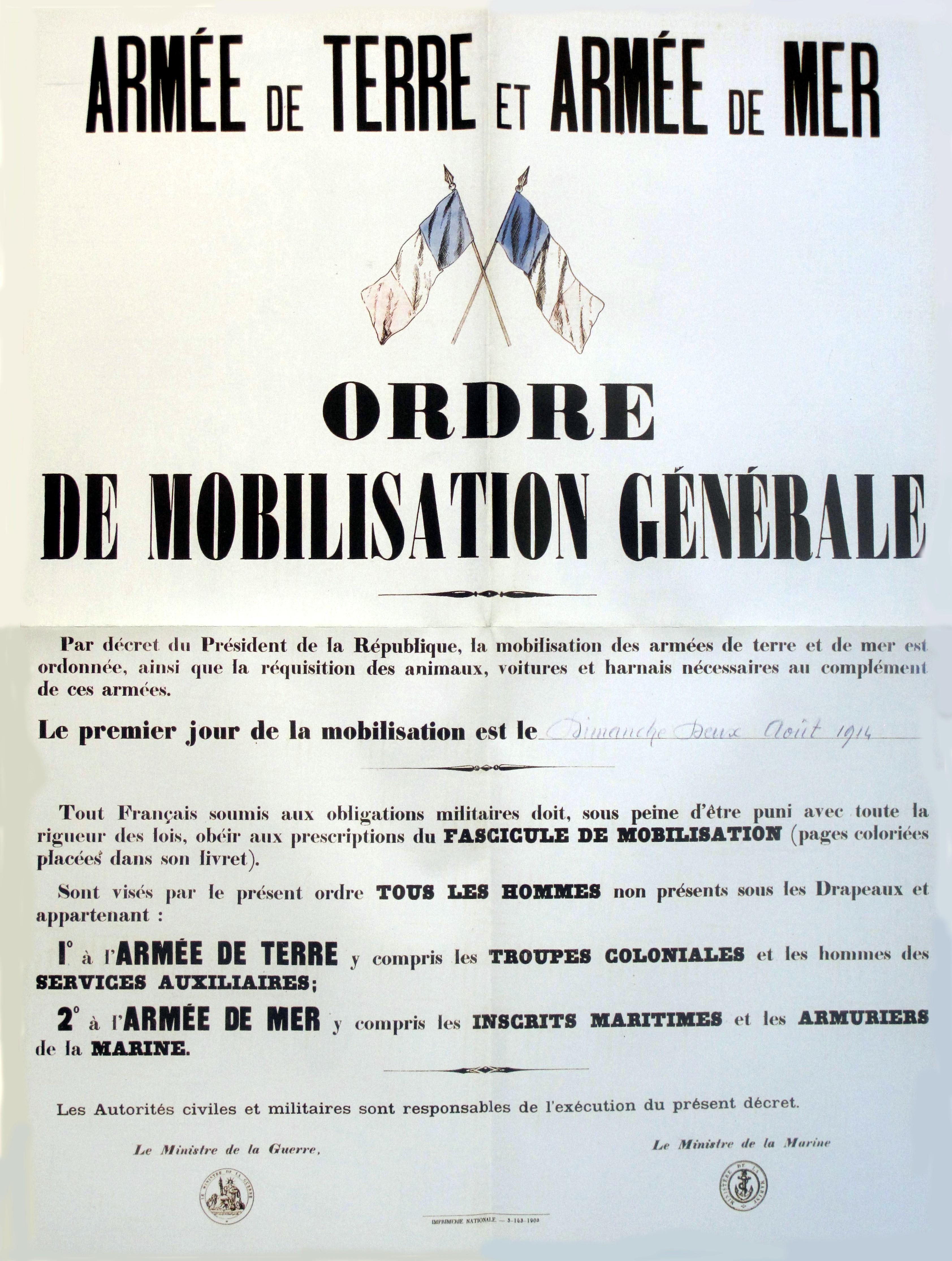 Französische Generalmobilmachung ab Sonntag 2.August 1914