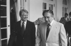 Carter meeting with Chilean dictator Augusto Pinochet, in Washington, D.C., September 6, 1977