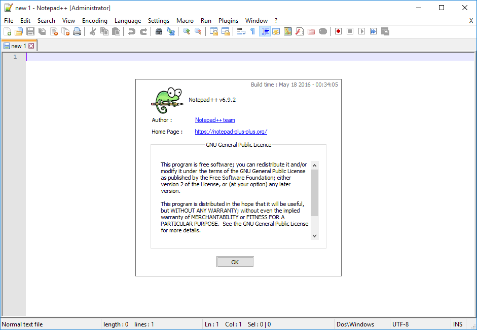 File:Notepad++ v6.9.2 on Windows 10, empty new file, with about ...