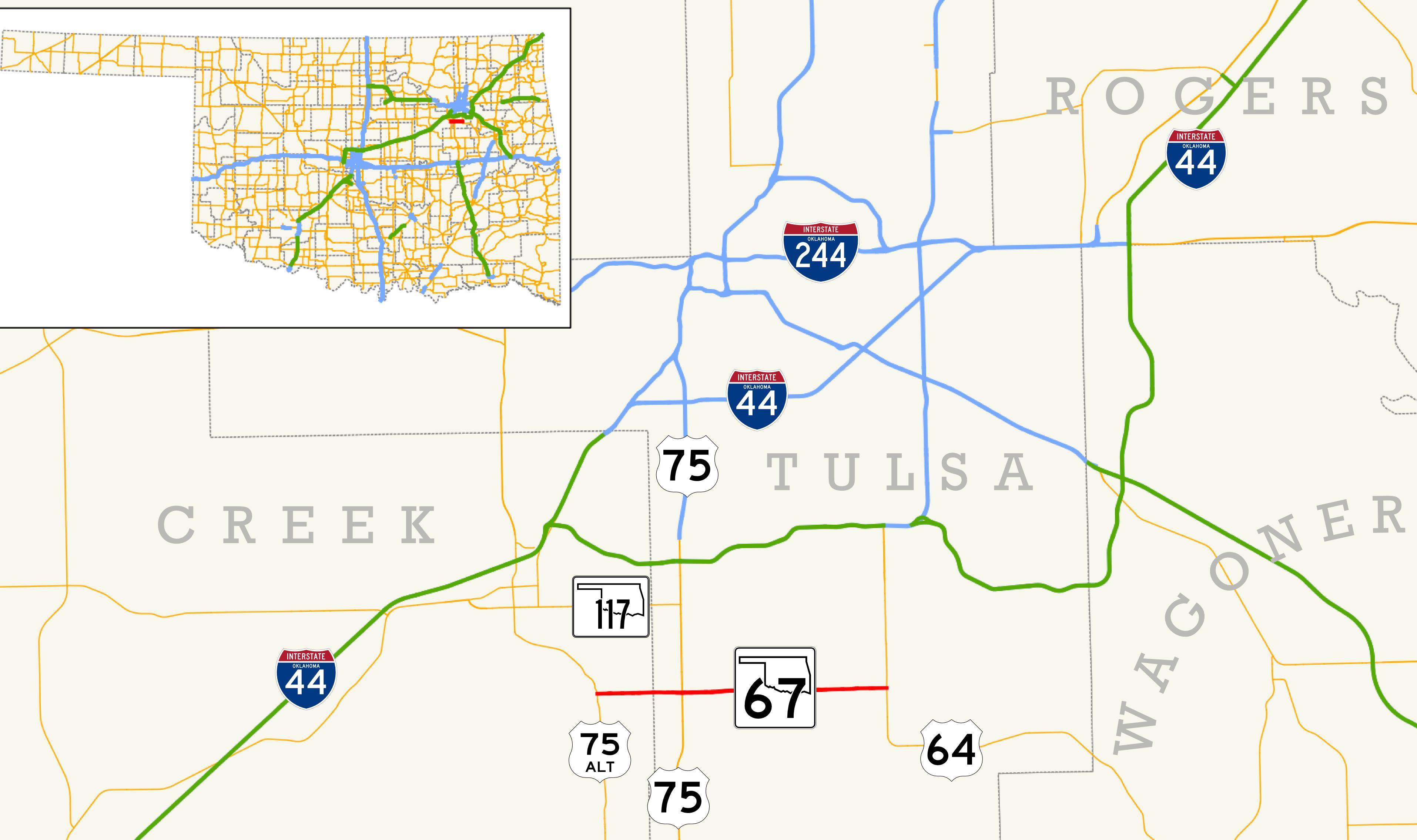 Falls Creek Oklahoma Map.Oklahoma State Highway 67 Wikipedia