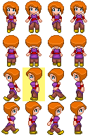 Orange haired girl sprite - drawing a subsprite