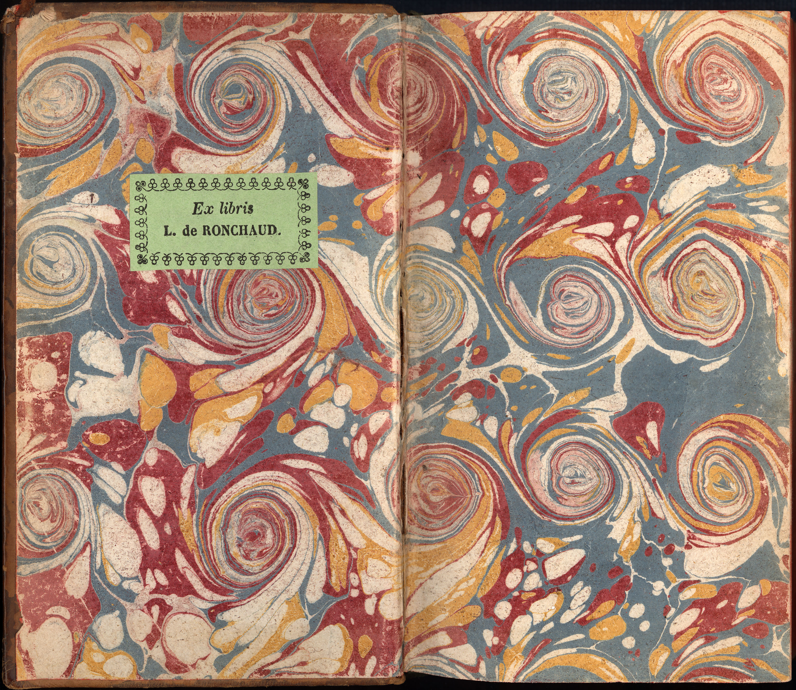 Marbled endpaper from a book bound in France ca. 1735