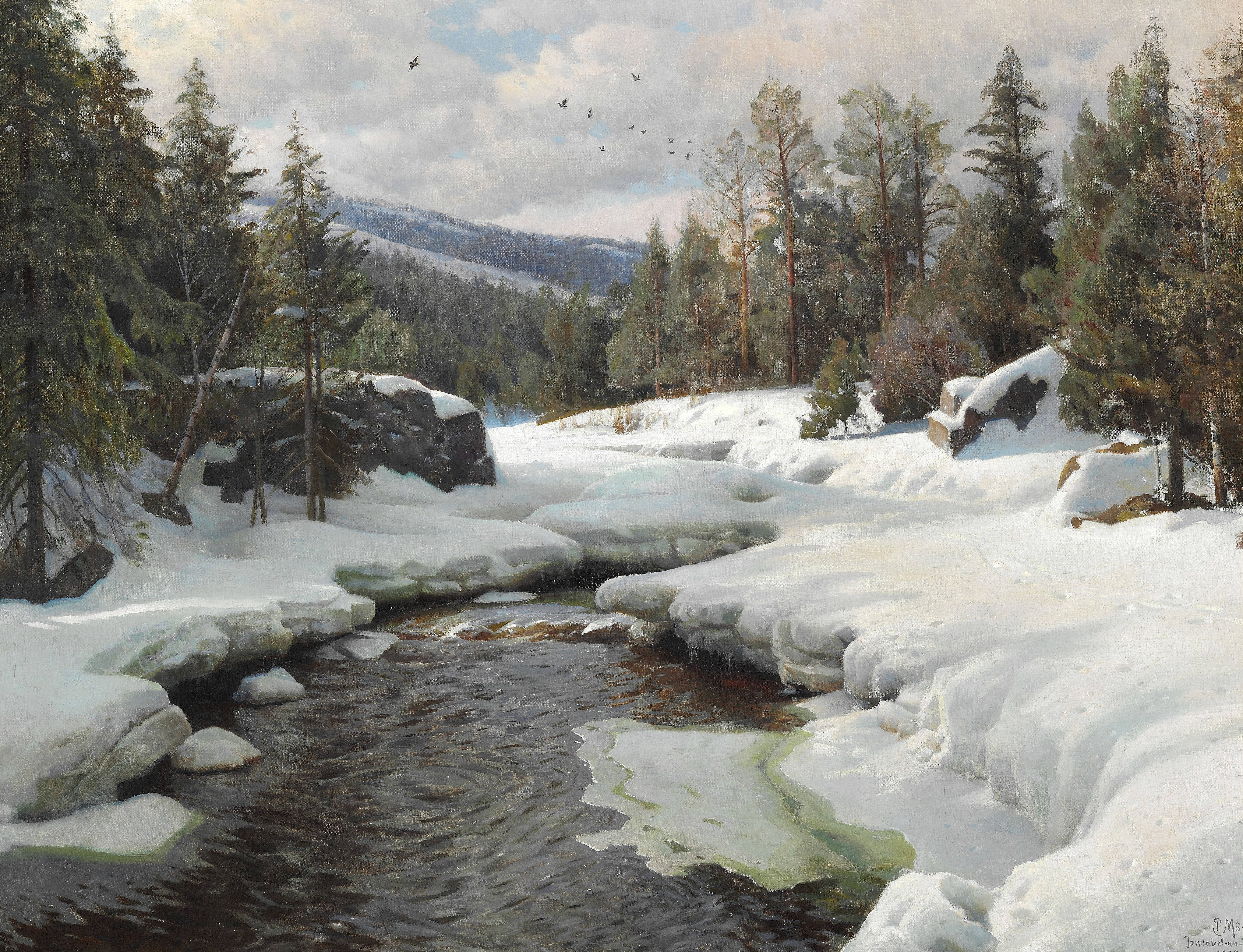 Peder Mørk Mønsted, A day in April with spring thaw. Jondalselven (the river of Jondal). Telemark in Norway,