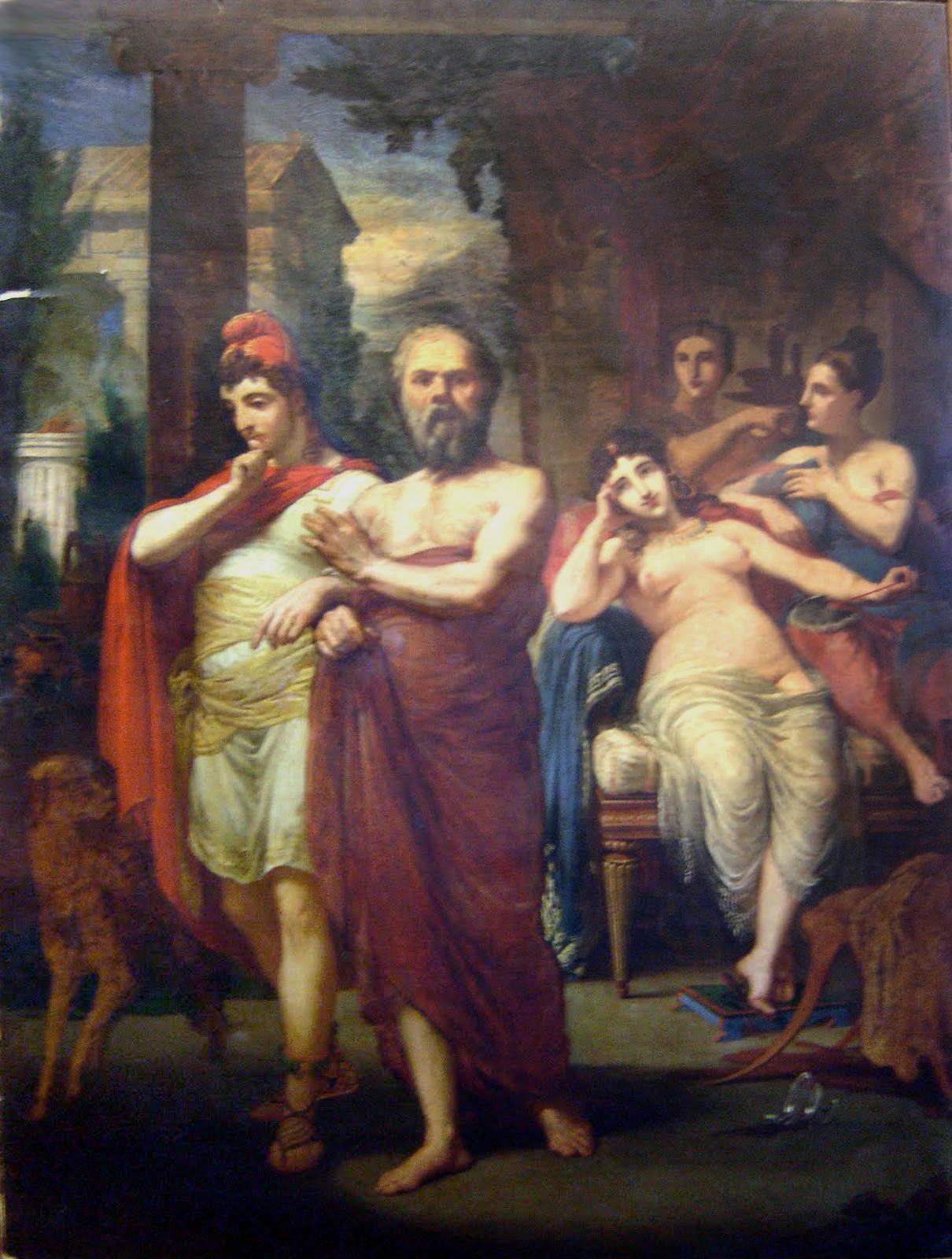 Sócrates afastando Alcebíades dos braços do vício, 1861, Museu Dom João VI. Uma pintura histórica de sua juventude.