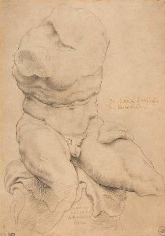 Бельведерский торс. 1600—1608 (?), карандаш и чёрный мелок на бумаге. 37,5 × 26,9 см. Антверпен, Дом Рубенса
