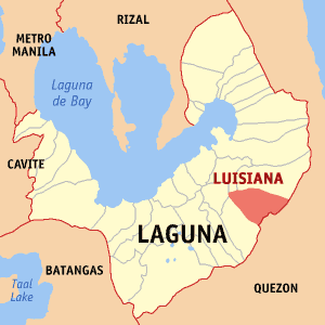 Map of Laguna showing the location of Luisiana