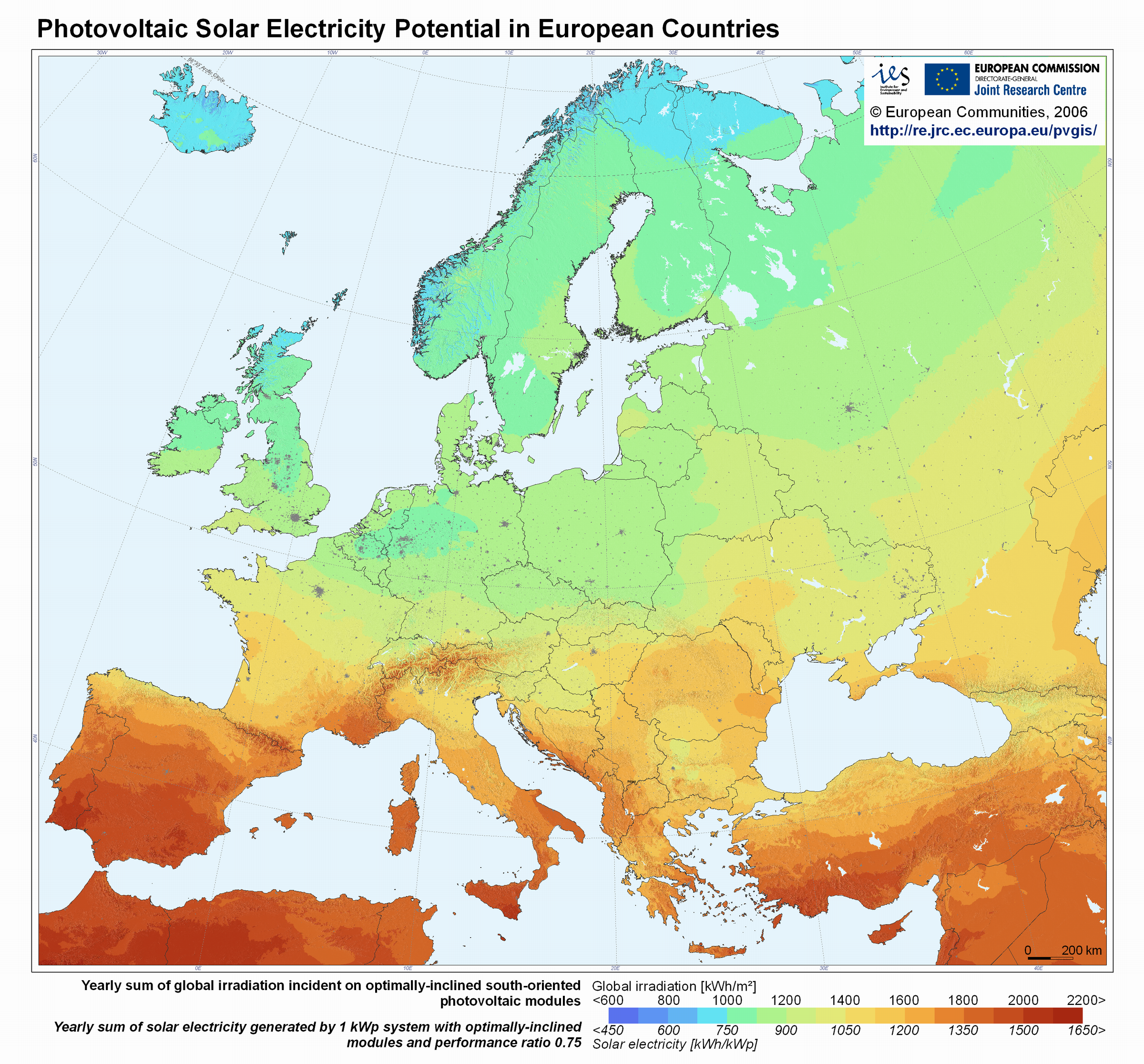 Map Of Europes Solar Potential The Amount Of Incident Solar - Europe map scandinavia