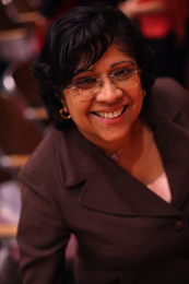 A photograph of Radhika Balakrishnan, courtesy of the Center for Women's Global Leadership