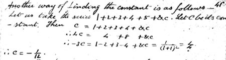 "Passage from Ramanujan's first notebook describing the ""constant"" of the series"