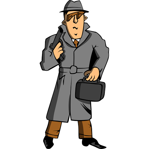Agent with trenchcoat, briefcase, and gun