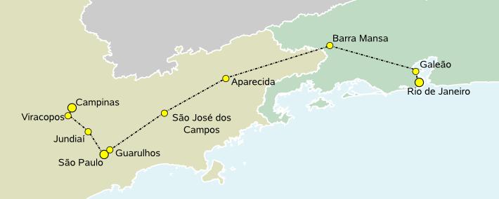 Percurso do Trem de Alta Velocidade Rio-São Paulo. Imagem: Wikipédia