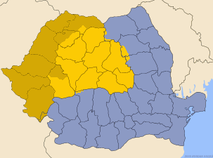 Map of Romania with Transylvania. The light yellow areas correspond to the core territory of the historic Principality. The historical regions of Crişana and Maramureş (see also Partium), and the Romanian section of the Banat, marked in dark yellow, are also considered part of Transylvania today.[citation needed]