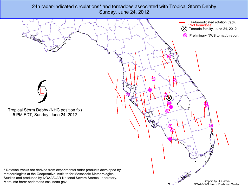 Map Of Florida Tornado 2012 Tropical Storm Debby tornado outbreak   Wikipedia