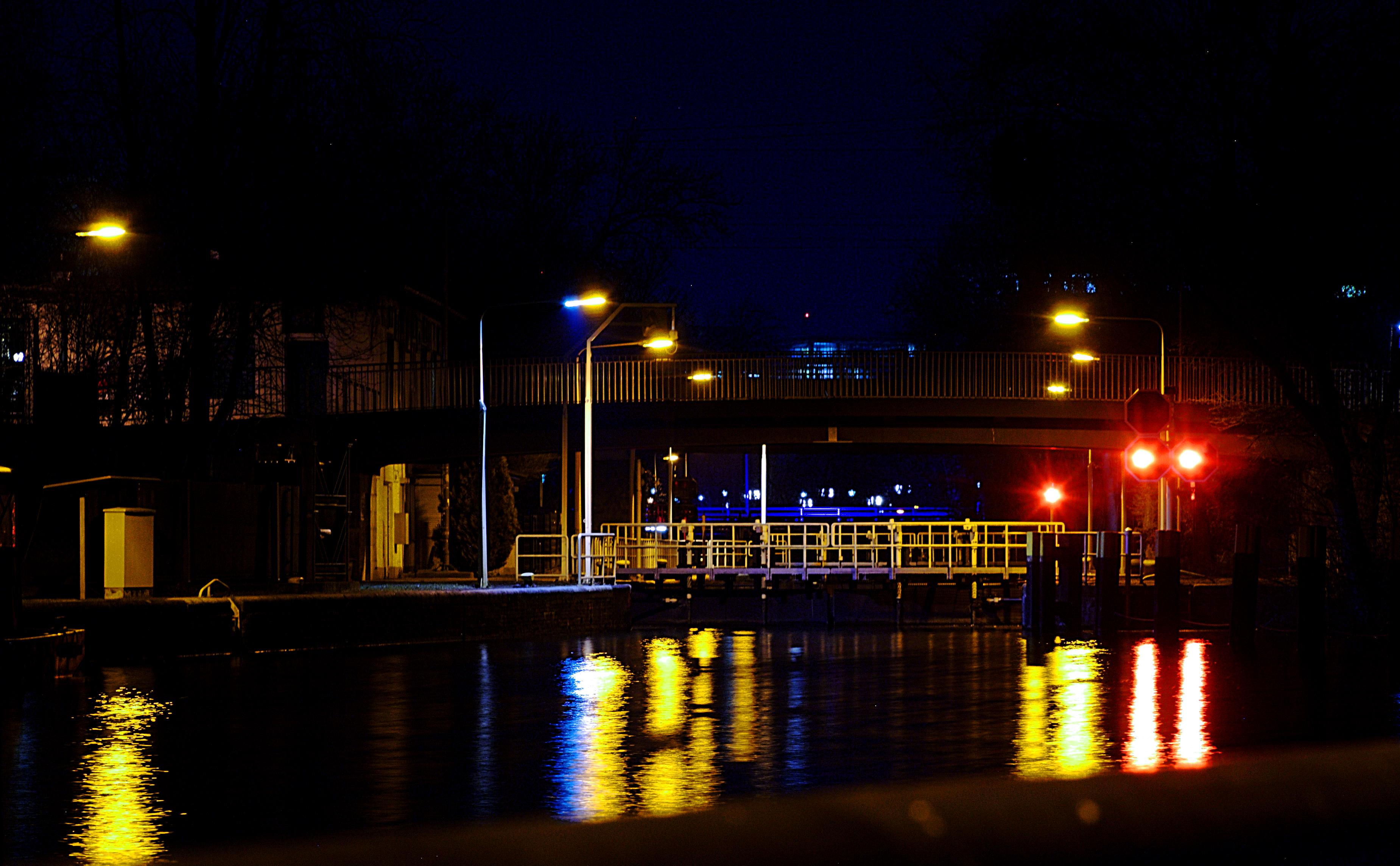 Unterschleuse Landwehrkanal Berlin Tiergarten at night March 2015