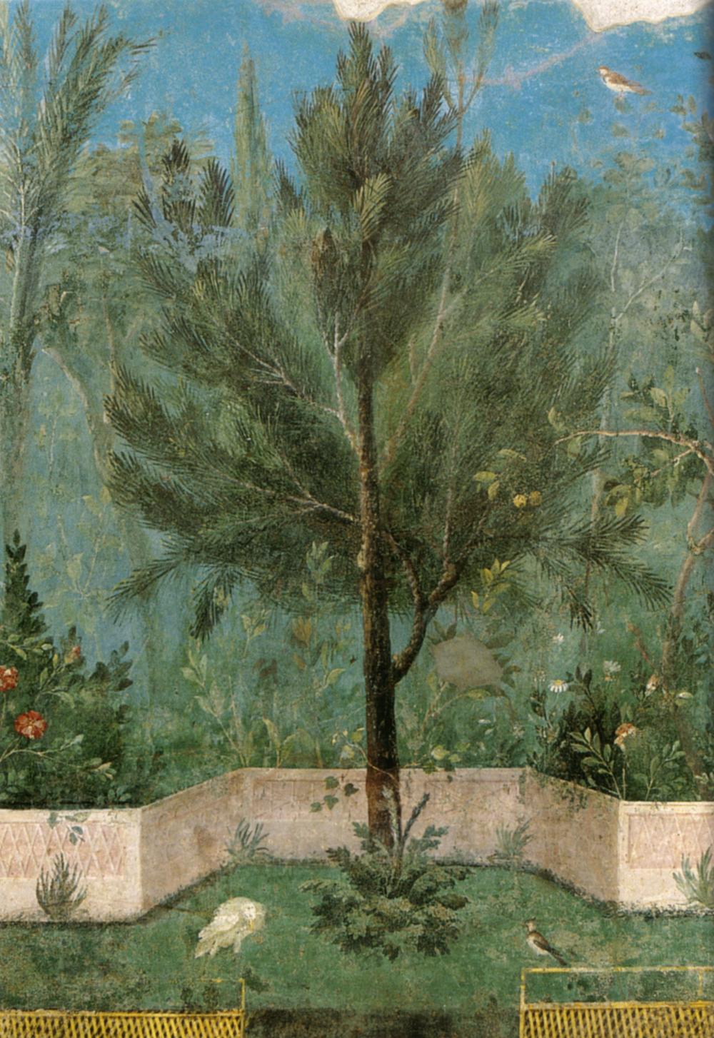 File villa di livia affreschi di giardino parete corta for Ancient mural villa