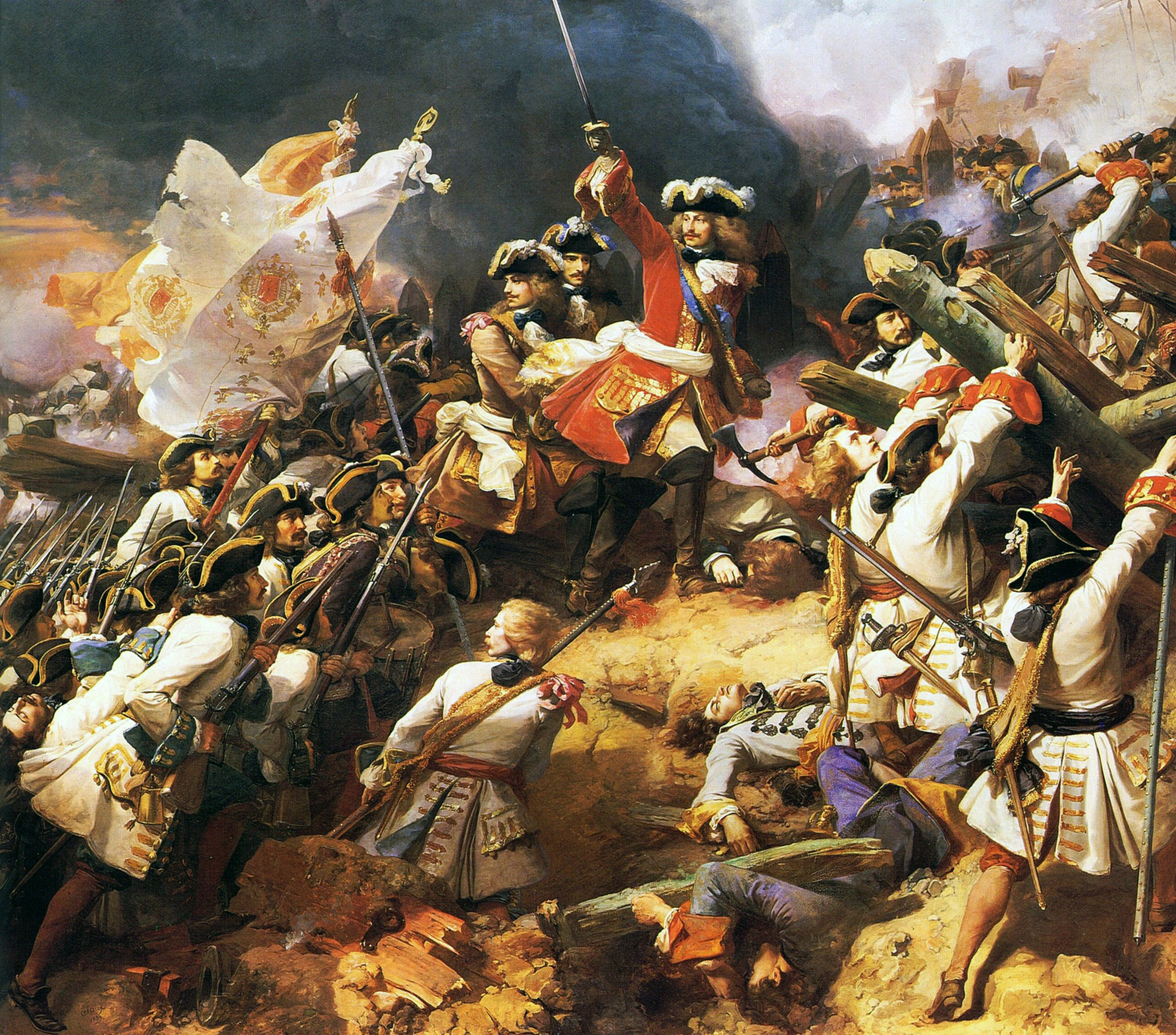 Battle of Denain. (1712). Painting by Jean Alo.