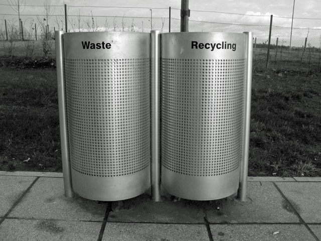 Waste and recycling bins, Queen Margaret's University - geograph.org.uk - 687501