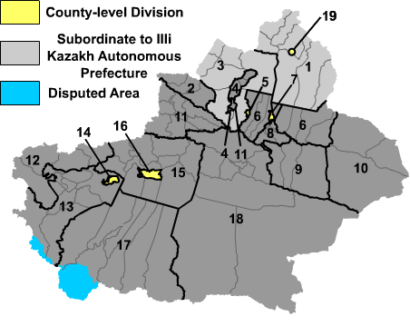 Map of Xinjiang Uyghur Autonomous Region