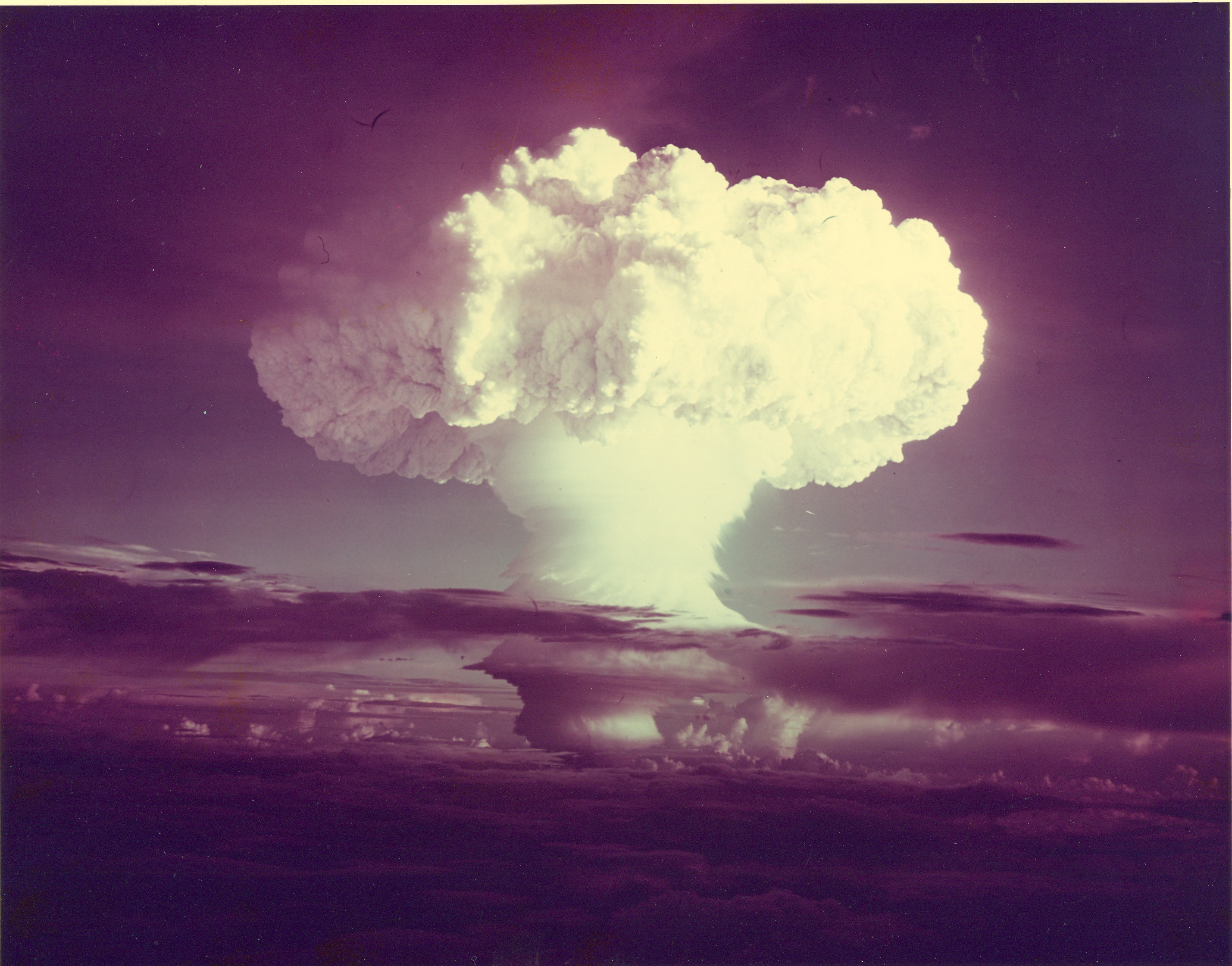 A mushroom cloud forms after the first U.S. test of a thermonuclear device, code named Ivy Mike, in November 1952