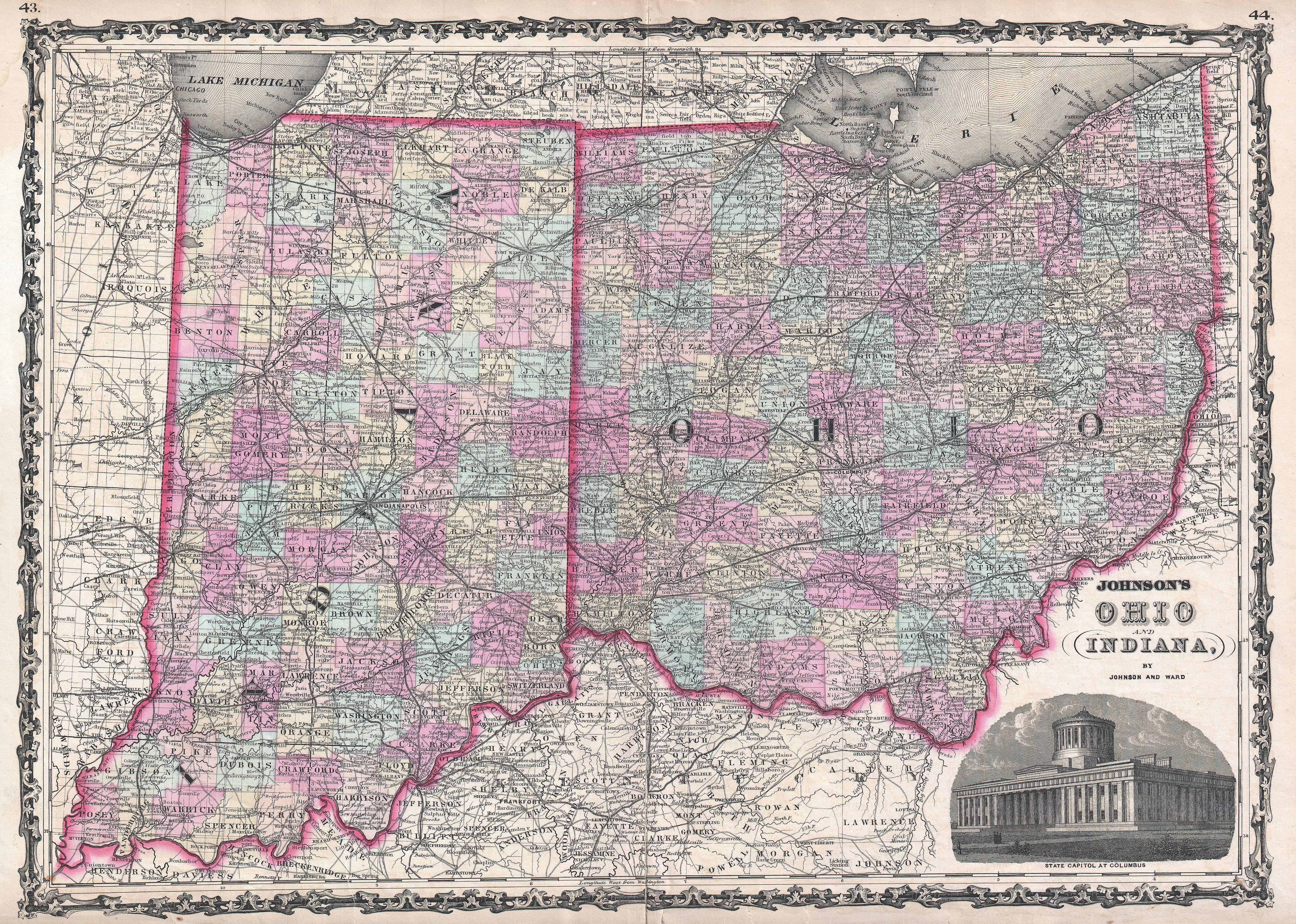 File1862 Johnson Map of Ohio and Indiana Geographicus