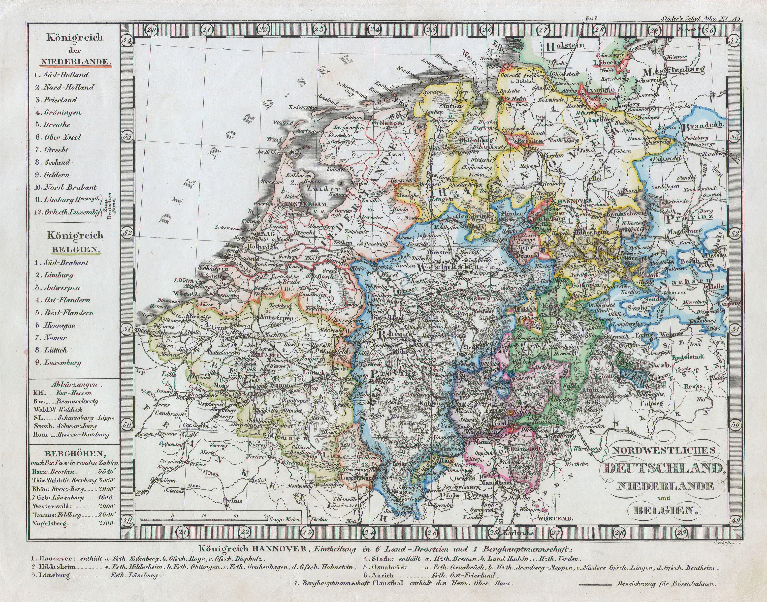 Map Of Germany Netherlands And Belgium.File 1862 Stieler Map Of Holland Belgium And Western Germany