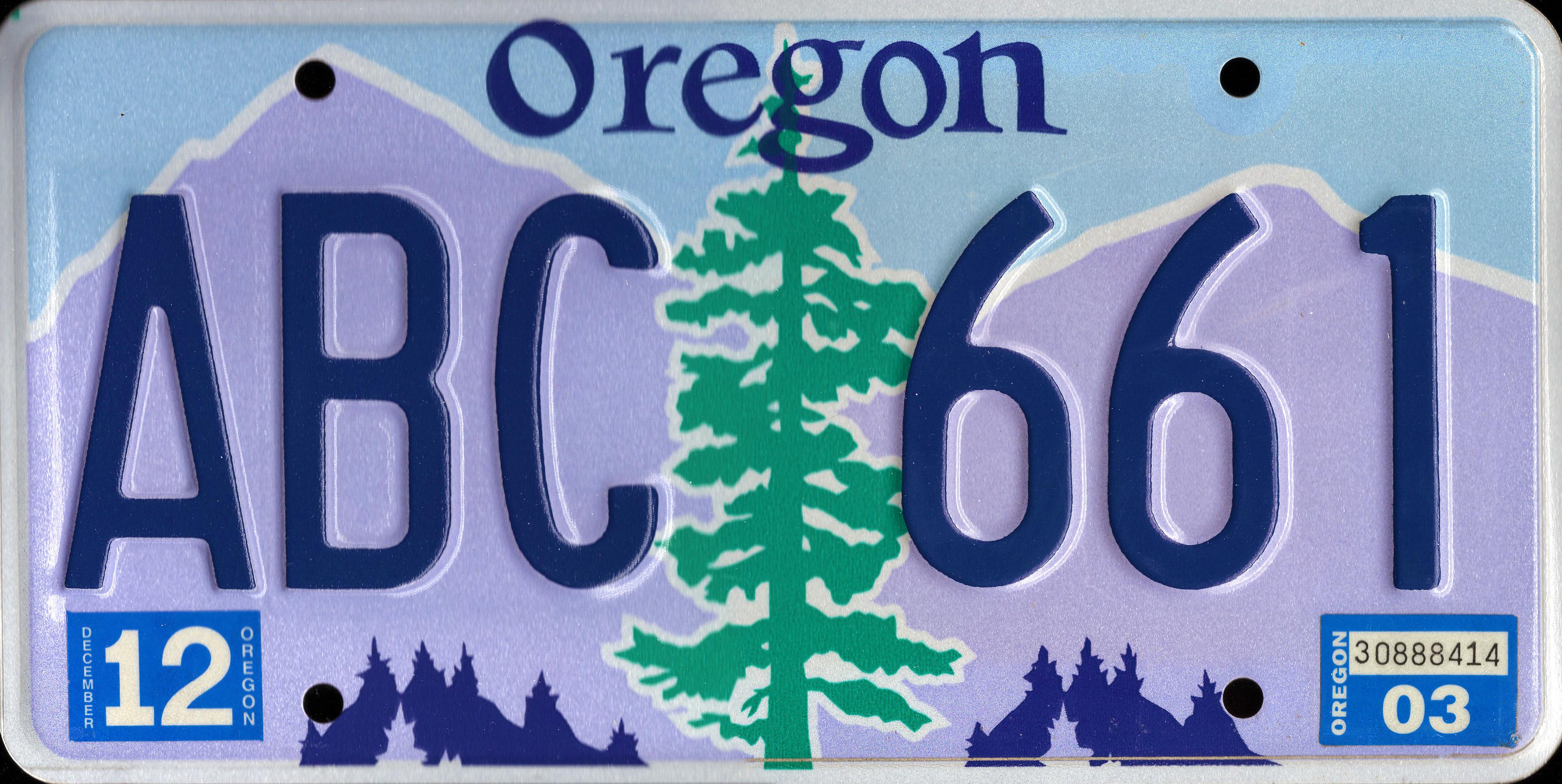 File2003 Oregon License Plate