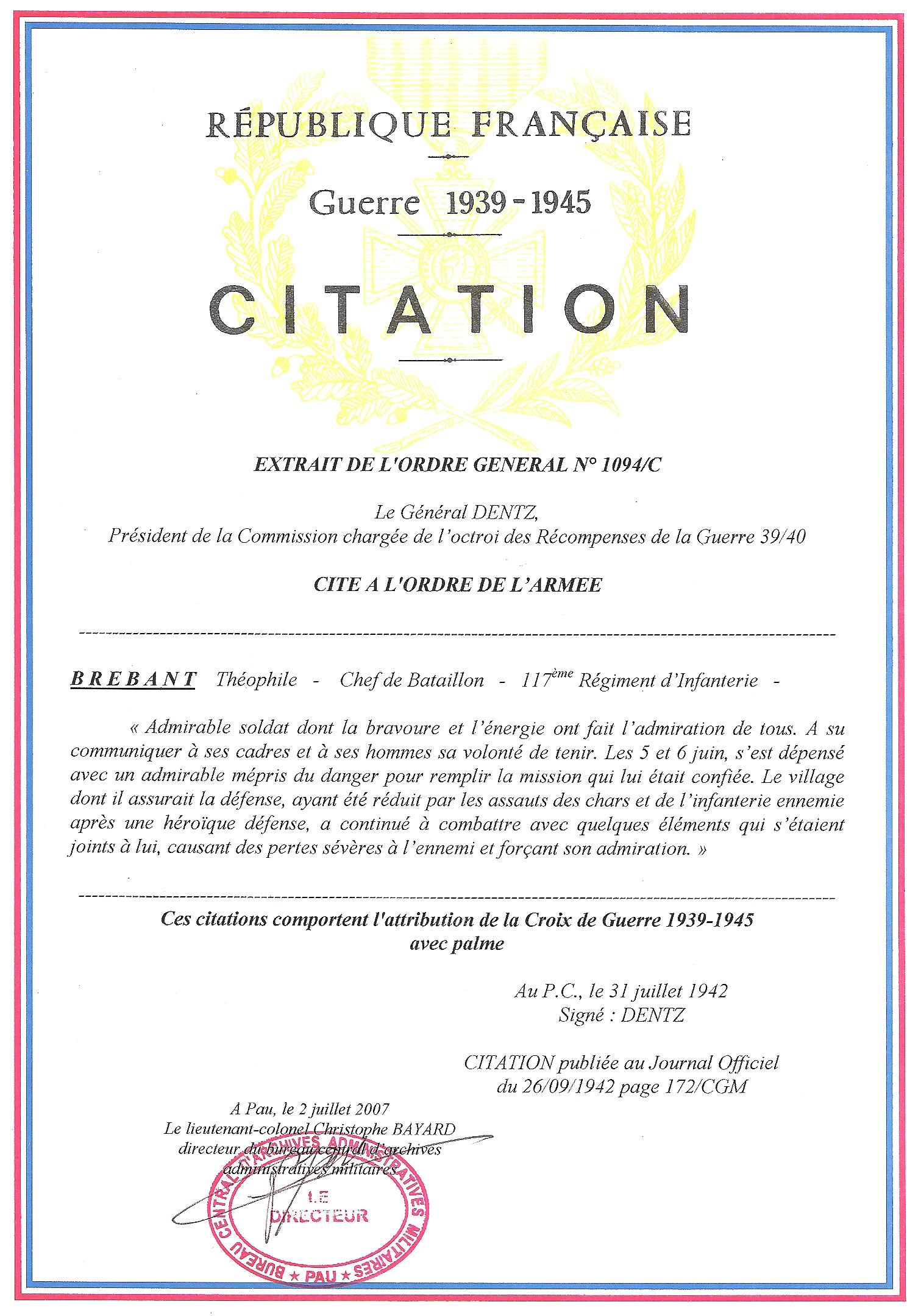 Fichier a l 39 ordre de l 39 arm wikip dia - Bureau central des archives militaires ...