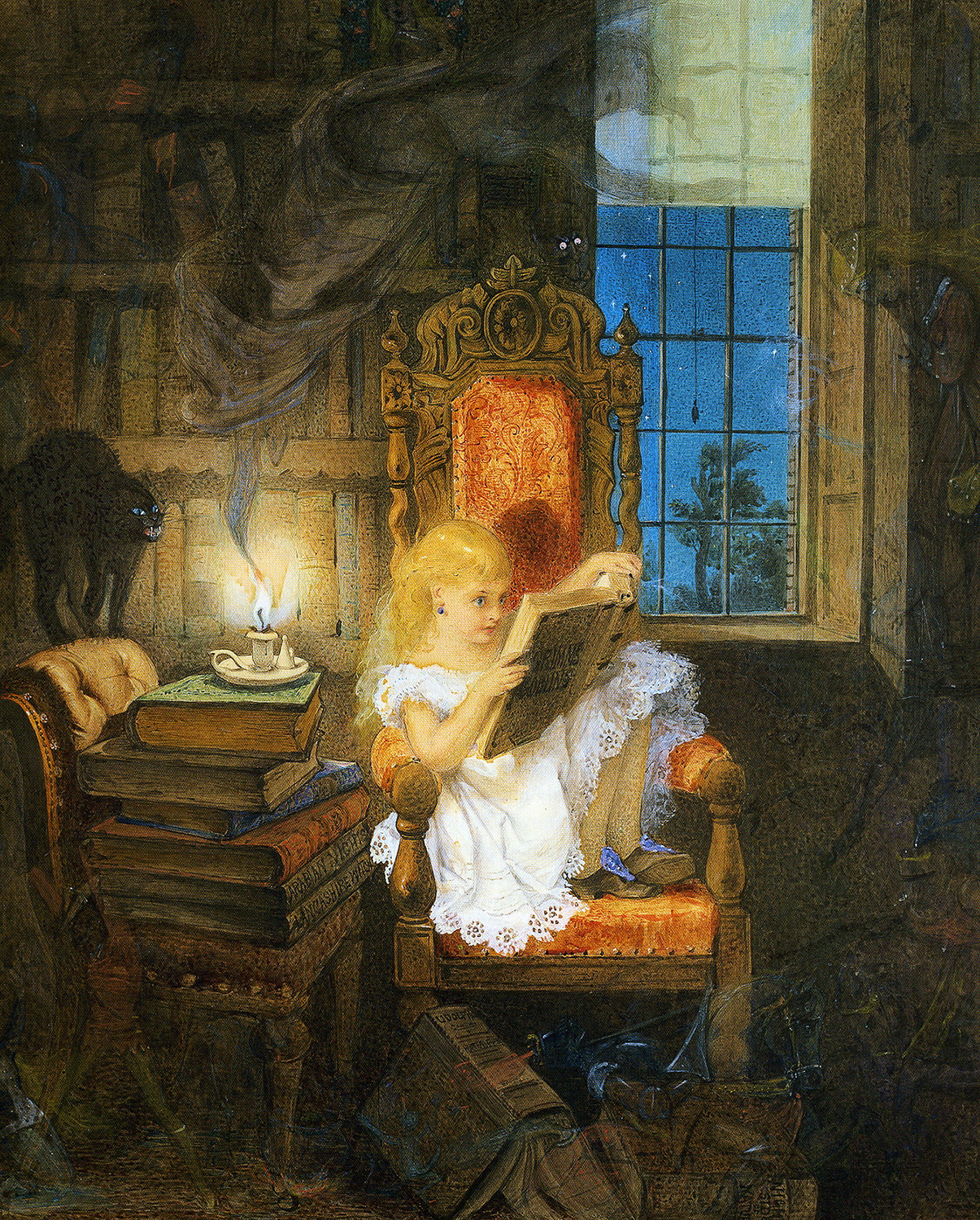 Girl reading book by candlelight