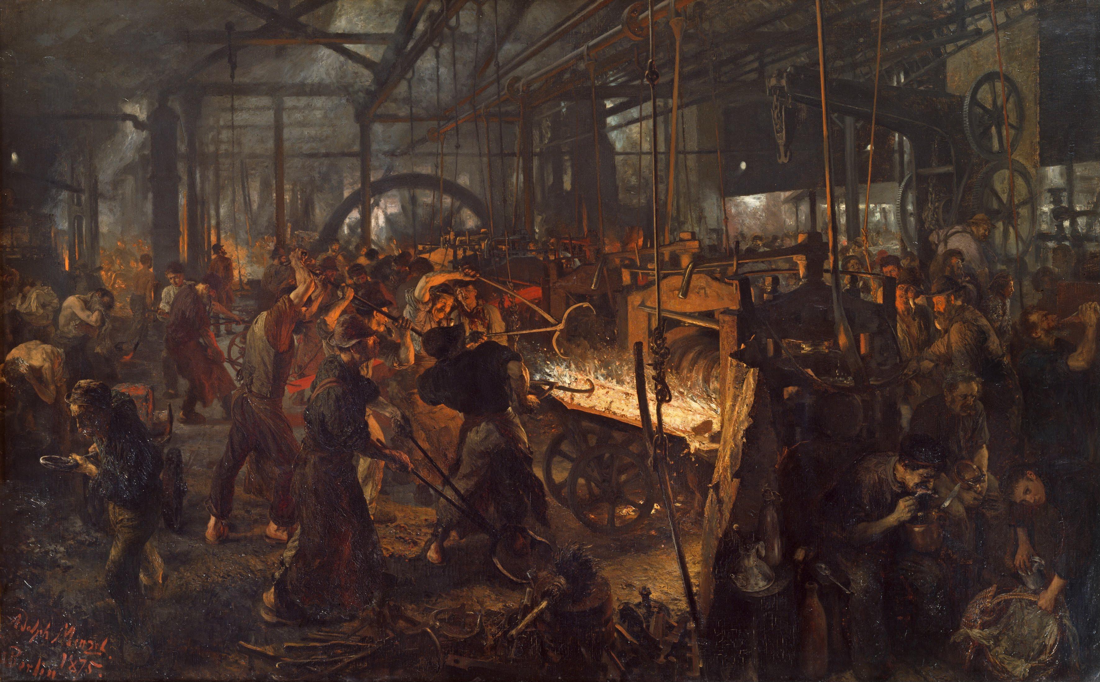 Ein Eisenwalzwerk in Deutschland während der Hochindustrialisierung, um 1875