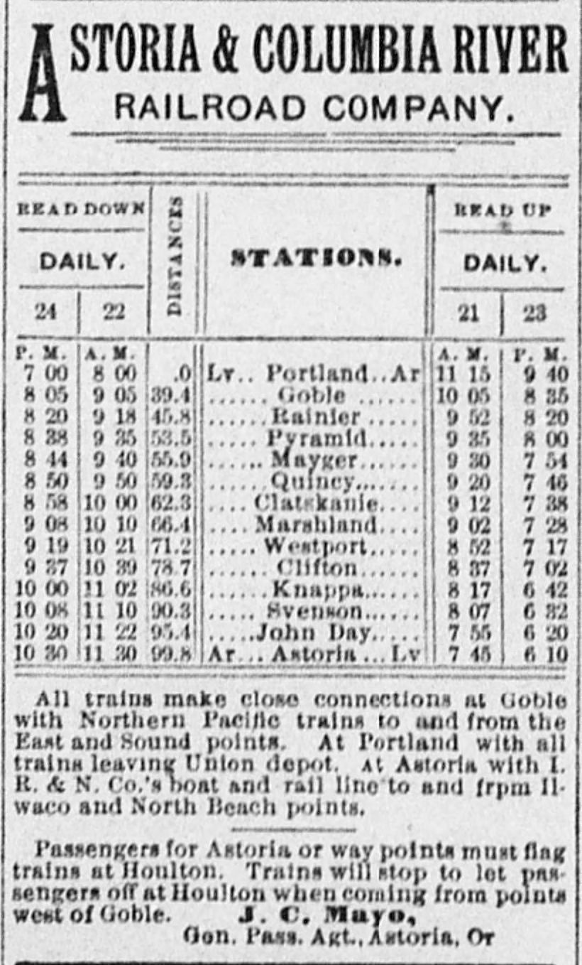 Vintage list of the train station son the Original Astoria to Portland Oregon route.