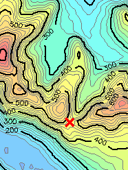 A mountain pass as it appears on a contour map: Bwlch Maesgwm in Snowdonia, north Wales, United Kingdom.[1]