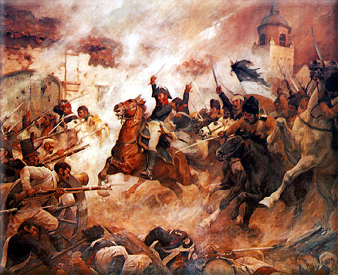 Romanticized painting of the Battle of Rancagua during the Chilean War of Independence by Pedro Subercaseaux