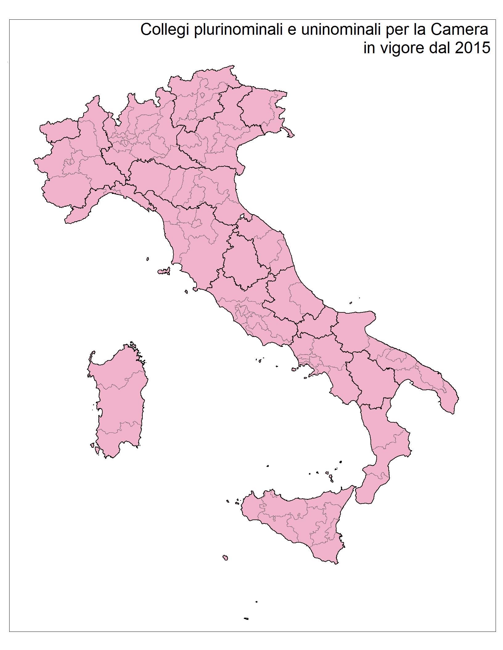 I collegi elettorali per la Camera dei deputati tutti plurinominali fatta eccezione per la Valle d Aosta e le province autonome di Trento e Bolzano