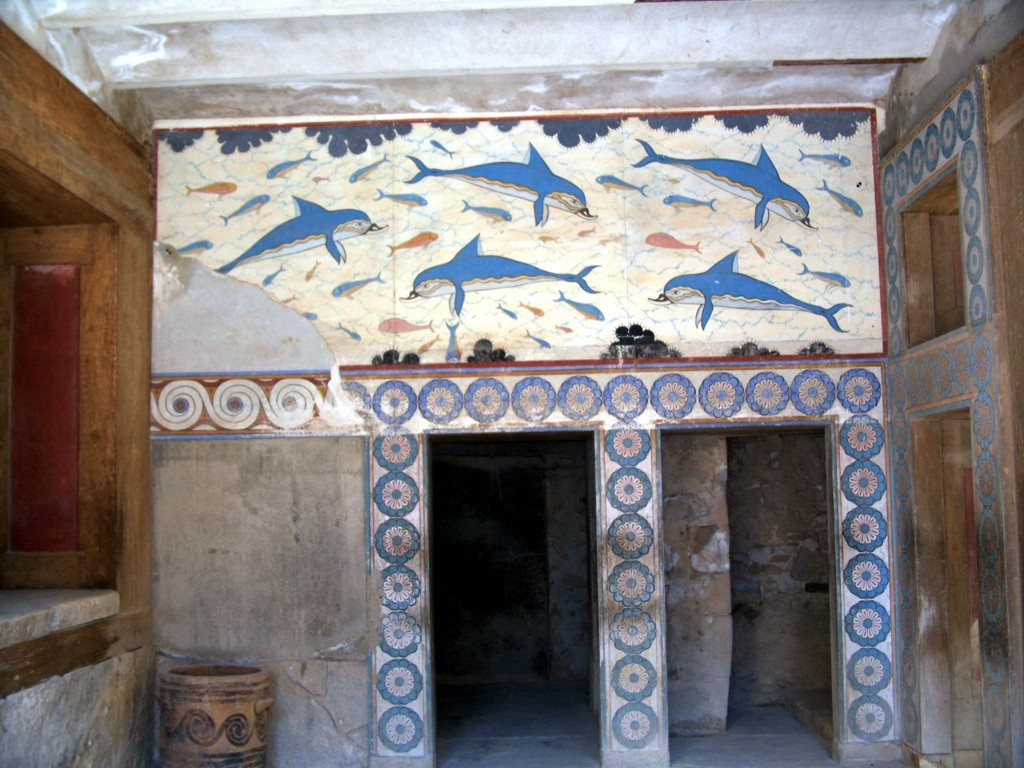 File crete knossos wikimedia commons for Dolphin mural knossos